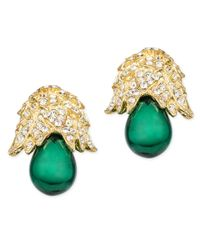 Kenneth Jay Lane | Green Emerald Drop Clip Earring | Lyst