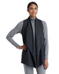 Lafayette 148 New York | Gray Rib Knit Detail Cascade Collar Vest | Lyst