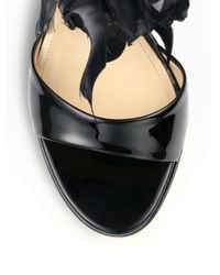 Paul Andrew | Black Amazon Feathertrimmed Patent Leather Sandals | Lyst