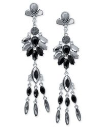 Guess - Black Silver-Tone Gray Crystal Linear Drop Earrings - Lyst