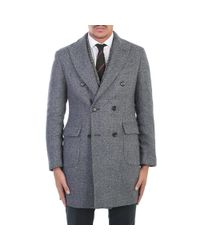 Dell'Oglio - Gray Blue/grey Textured Wool Coat for Men - Lyst