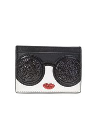 Alice + Olivia | Black And White Leather And Glitter Card Holder | Lyst