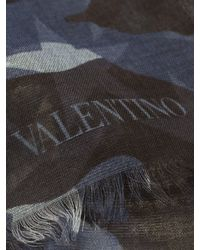 Valentino - Blue Camouflage Printed Scarf - Lyst