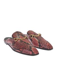 Stella McCartney - Black And Red Faux Python Loafers Sabot - Lyst