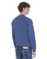 DSquared² - Surf Cream Printed Blue Cotton Sweatshirt for Men - Lyst