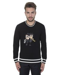 Dolce & Gabbana | Black Wool Sweater With Jazz Embroidery for Men | Lyst
