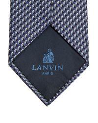 Lanvin - Blue Navy Pattern Silk Tie for Men - Lyst