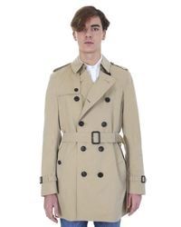 Burberry | Natural Honey Cotton Kensington Double-breasted Trench Coat for Men | Lyst