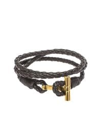 Tom Ford - Brown Leather Bracelet With Gold Closure - Lyst