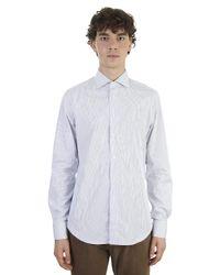 Dell'Oglio - Blue Striped Cotton Slim Shirt for Men - Lyst