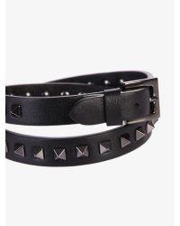 Valentino - Black Double Ride Leather Bracelet for Men - Lyst