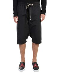 Rick Owens - Black Low Crotch Cotton Shorts for Men - Lyst