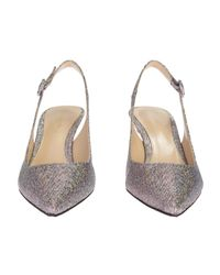 Gianvito Rossi - Metallic Silver Lurex And Leather Anna Chanel Shoes - Lyst