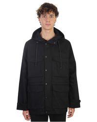 AMI - Black Cotton Gabardine 3/4 Jacket for Men - Lyst