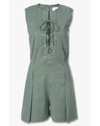 Derek Lam - Green Sleeveless Lace-up Romper - Lyst
