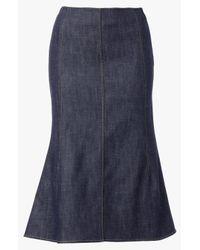 Derek Lam - Blue Seamed Denim Skirt - Lyst