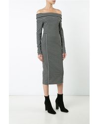 Derek Lam | Black L/s Off The Shoulder Midi Dress | Lyst