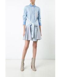 Derek Lam | Blue L/s Tie-waist Shirtdress | Lyst