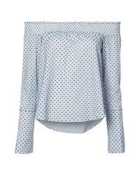 Derek Lam | Blue L/s Off The Shoulder Shirt | Lyst