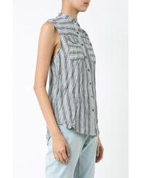 Derek Lam - Blue Sleeveless Button-down Shirt - Lyst