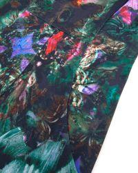Ted Baker | Black Skater Dress In Cascading Floral Print | Lyst