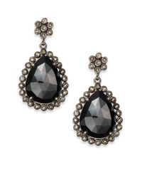 Bavna - Black Spinel Champagne Diamond  Sterling Silver Drop Earrings - Lyst
