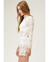 Forever 21 | White Lovecat Sheer Lace Dress | Lyst