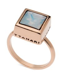T Tahari - Blue Rose Goldtone White Opal Crystal Square Ring - Lyst