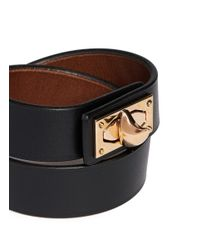 Givenchy | Black Shark Tooth Double Wrap Leather Bracelet | Lyst