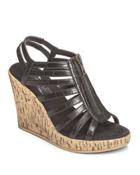 Aerosoles | Black Track Star Faux Leather Wedge Sandals | Lyst