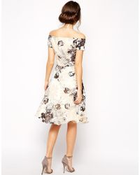 Chi Chi London - Multicolor Premium Oversize Mono Floral Midi Dress With Bardot Neck - Lyst