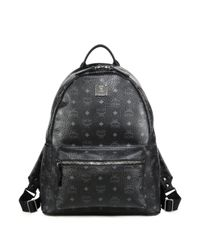 MCM | Black Stark Coated Canvas Monogram Backpack for Men | Lyst