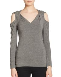 Bailey 44 - Gray Garbo Cold-shoulder Top - Lyst