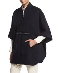 Loro Piana | Blue Audrey Belted Felt Cape | Lyst
