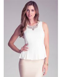 Bebe | White Embellished Peplum Top | Lyst