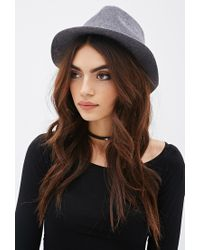 Forever 21 | Gray Faux Suede Band Wool Fedora | Lyst