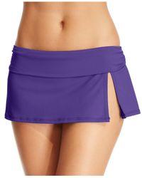 La Blanca - Purple Solid Banded Swim Skirt - Lyst