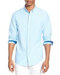 Original Penguin - Blue Trim Fit Oxford Shirt for Men - Lyst