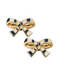 kate spade new york - Metallic New York Goldtone Striped Bow Clipon Earrings - Lyst