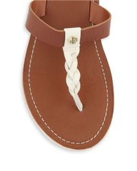 Lauren by Ralph Lauren | Brown Darrah Napa Leather Braided T-Strap Thong Sandals | Lyst