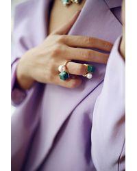 Eshvi - Green Back To School Malachite Ring Set - Lyst