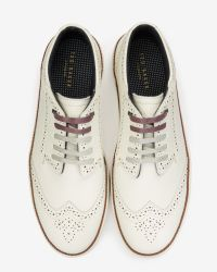 Ted Baker - White Brogue Detail Suede Trainers for Men - Lyst
