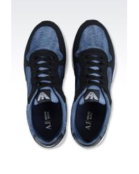 Armani Jeans   Blue Sneaker In Logo Patterned Technical Fabric for Men   Lyst