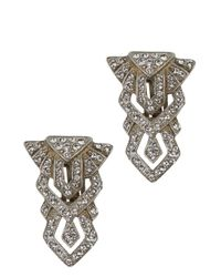 Ben-Amun | Metallic Silver Tone Swarovski Crystal Embellished Clip-On Earrings | Lyst
