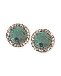 RACHEL Rachel Roy - Metallic Goldtone Green Drusy and Pave Crystal Stud Earrings - Lyst