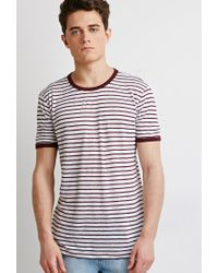 Forever 21 | Purple Striped Linen Ringer Tee You've Been Added To The Waitlist for Men | Lyst