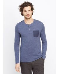 VINCE | Blue Sporty Jaspé Henley With Woven Pocket for Men | Lyst