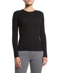 Michael Kors - Black Knit Cashmere Crewneck Sweater - Lyst