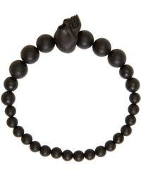 Alexander McQueen | Black Beaded Skull Bracelet for Men | Lyst