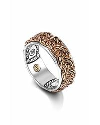 John Hardy | Metallic 'classic Chain' Braided Two-tone Band Ring - Bronze/ Silver for Men | Lyst